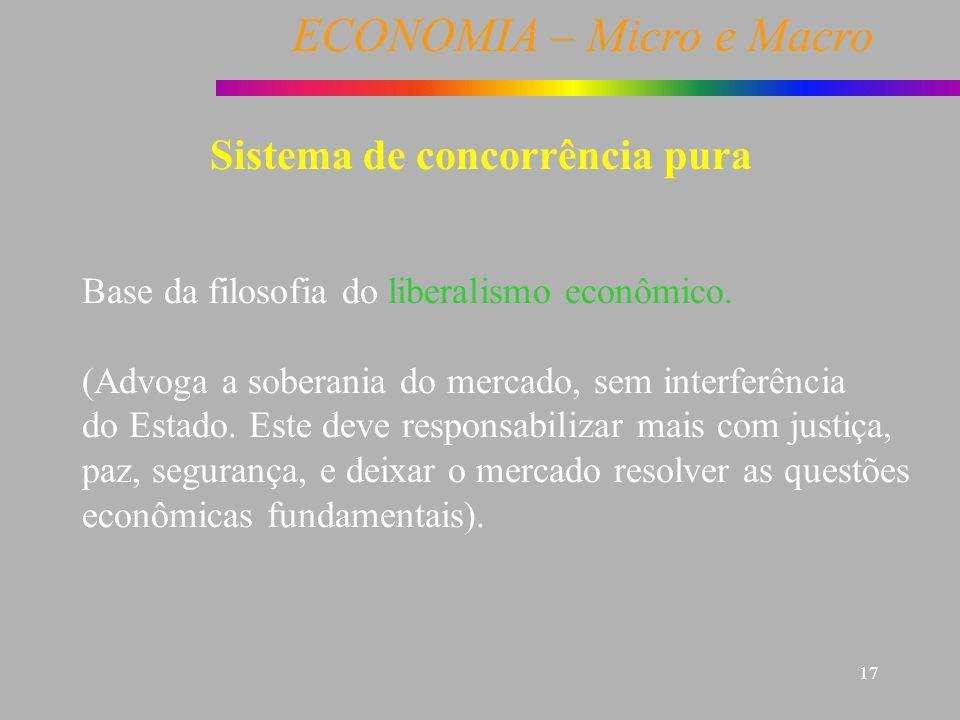 ECONOMIA – Micro e Macro 17 Sistema de concorrência pura Base da filosofia do liberalismo econômico. (Advoga a soberania do mercado, sem interferência