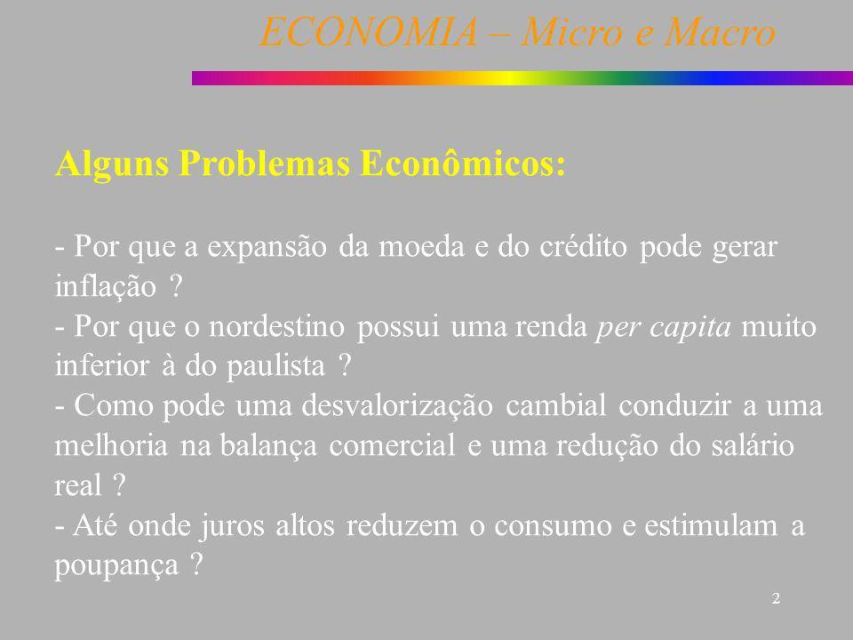 ECONOMIA – Micro e Macro 2 Alguns Problemas Econômicos: - Por que a expansão da moeda e do crédito pode gerar inflação ? - Por que o nordestino possui