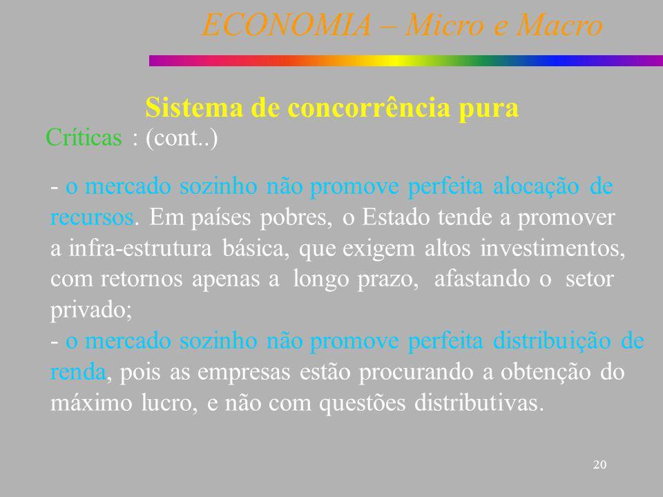 ECONOMIA – Micro e Macro 20 Sistema de concorrência pura Críticas : (cont..) - o mercado sozinho não promove perfeita alocação de recursos. Em países
