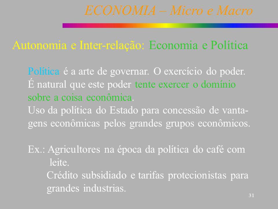 ECONOMIA – Micro e Macro 31 Economia e Política Política é a arte de governar. O exercício do poder. É natural que este poder tente exercer o domínio