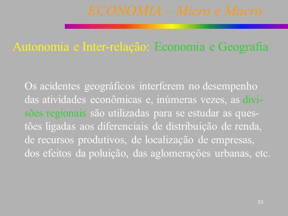 ECONOMIA – Micro e Macro 33 Economia e Geografia Os acidentes geográficos interferem no desempenho das atividades econômicas e, inúmeras vezes, as div