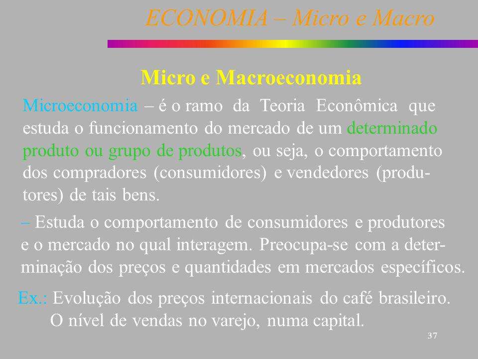 ECONOMIA – Micro e Macro 37 Micro e Macroeconomia Microeconomia – é o ramo da Teoria Econômica que estuda o funcionamento do mercado de um determinado