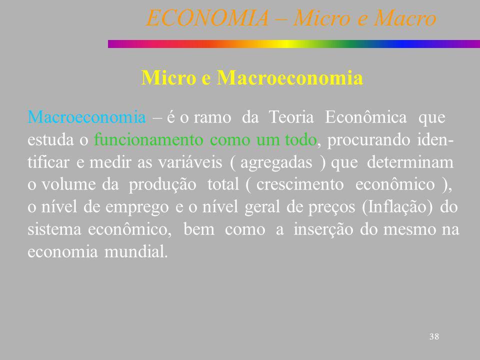 ECONOMIA – Micro e Macro 38 Macroeconomia – é o ramo da Teoria Econômica que estuda o funcionamento como um todo, procurando iden- tificar e medir as