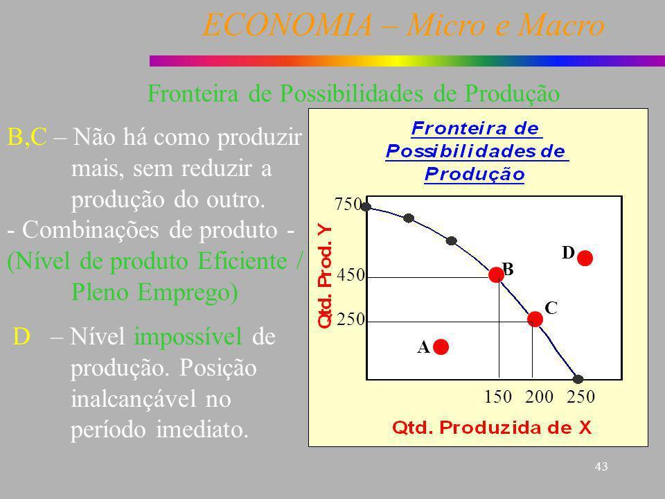 ECONOMIA – Micro e Macro 43 A B C D 250200150 750 450 250 B,C – Não há como produzir mais, sem reduzir a produção do outro. - Combinações de produto -