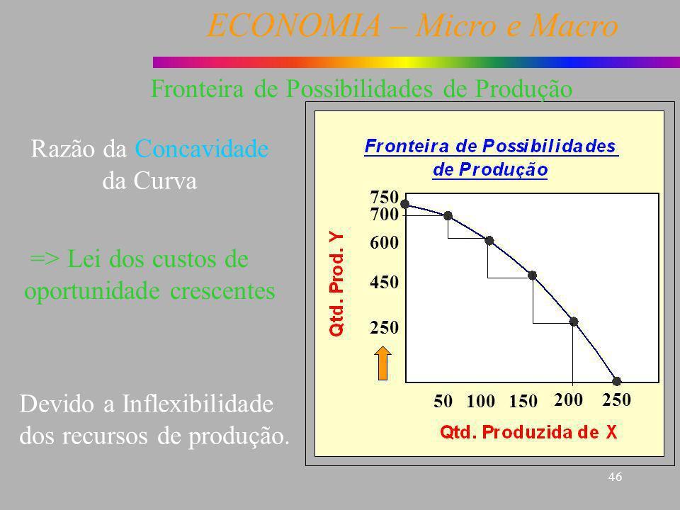 ECONOMIA – Micro e Macro 46 => Lei dos custos de oportunidade crescentes Razão da Concavidade da Curva Devido a Inflexibilidade dos recursos de produç