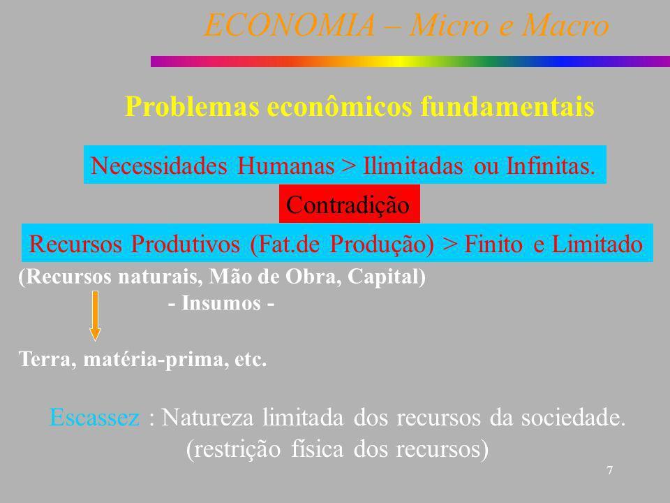 ECONOMIA – Micro e Macro 7 Problemas econômicos fundamentais Necessidades Humanas > Ilimitadas ou Infinitas. Recursos Produtivos (Fat.de Produção) > F