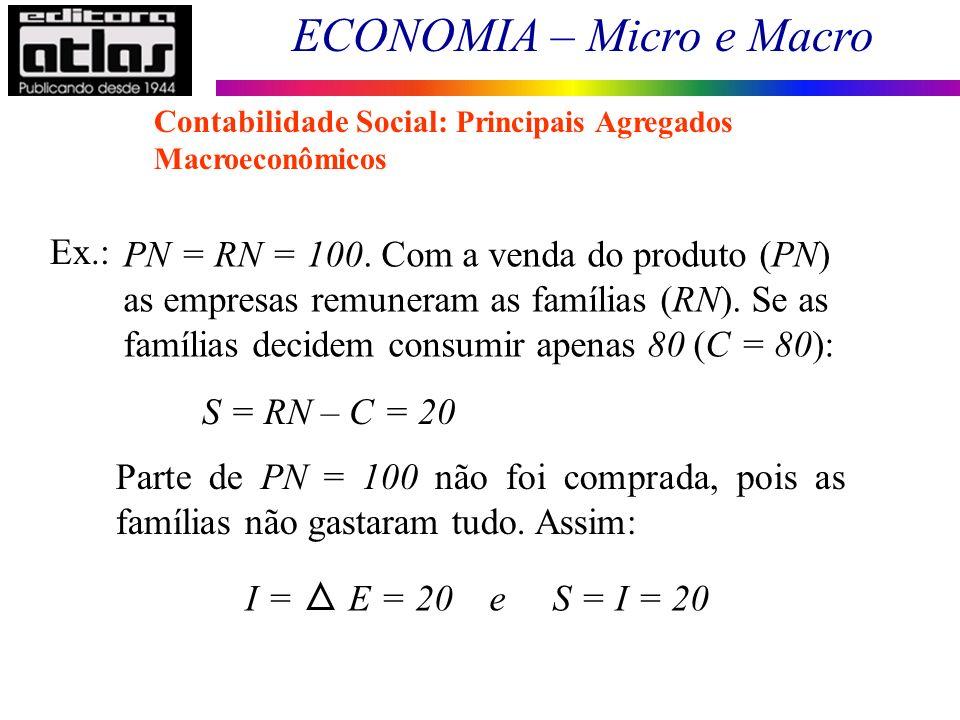 ECONOMIA – Micro e Macro 13 Ex.: PN = RN = 100. Com a venda do produto (PN) as empresas remuneram as famílias (RN). Se as famílias decidem consumir ap