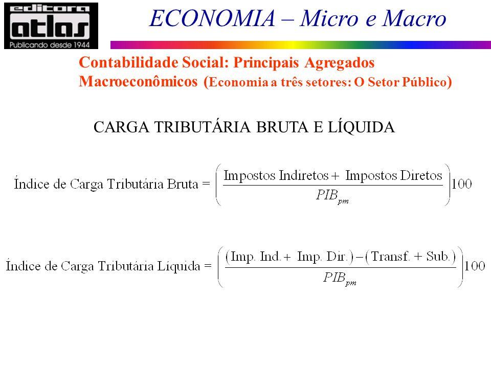 ECONOMIA – Micro e Macro 18 CARGA TRIBUTÁRIA BRUTA E LÍQUIDA Contabilidade Social: Principais Agregados Macroeconômicos ( Economia a três setores: O S