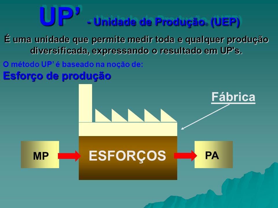 MP PA ESFORÇOS Fábrica UP - Unidade de Produção © (UEP) É uma unidade que permite medir toda e qualquer produção diversificada, expressando o resultad