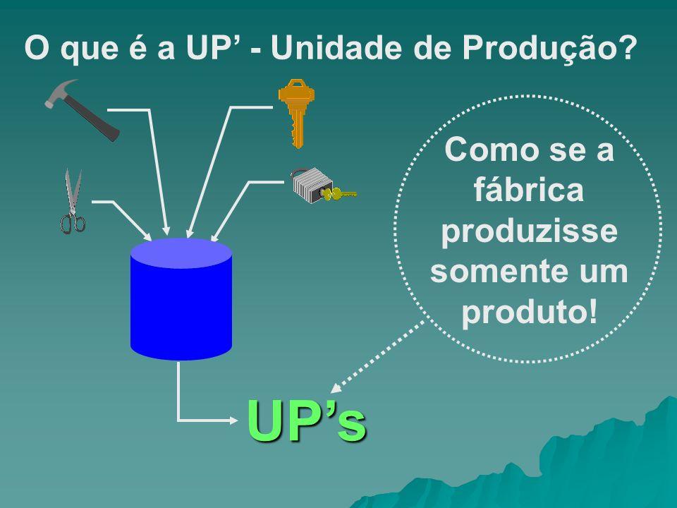 O que é a UP - Unidade de Produção? Como se a fábrica produzisse somente um produto! UPs
