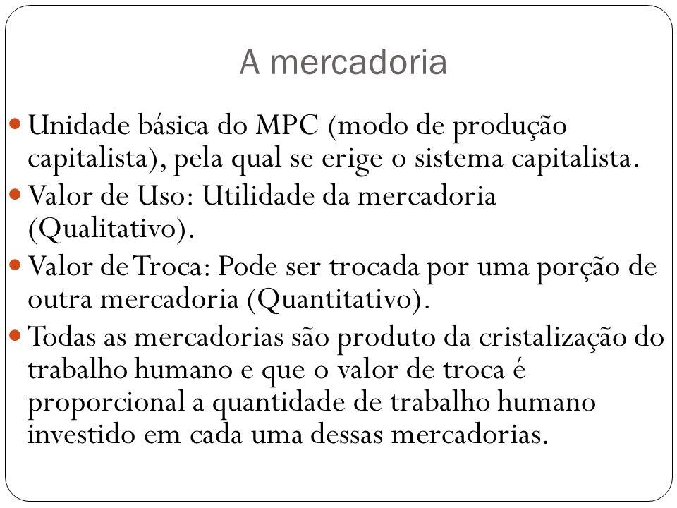 A mercadoria Unidade básica do MPC (modo de produção capitalista), pela qual se erige o sistema capitalista. Valor de Uso: Utilidade da mercadoria (Qu