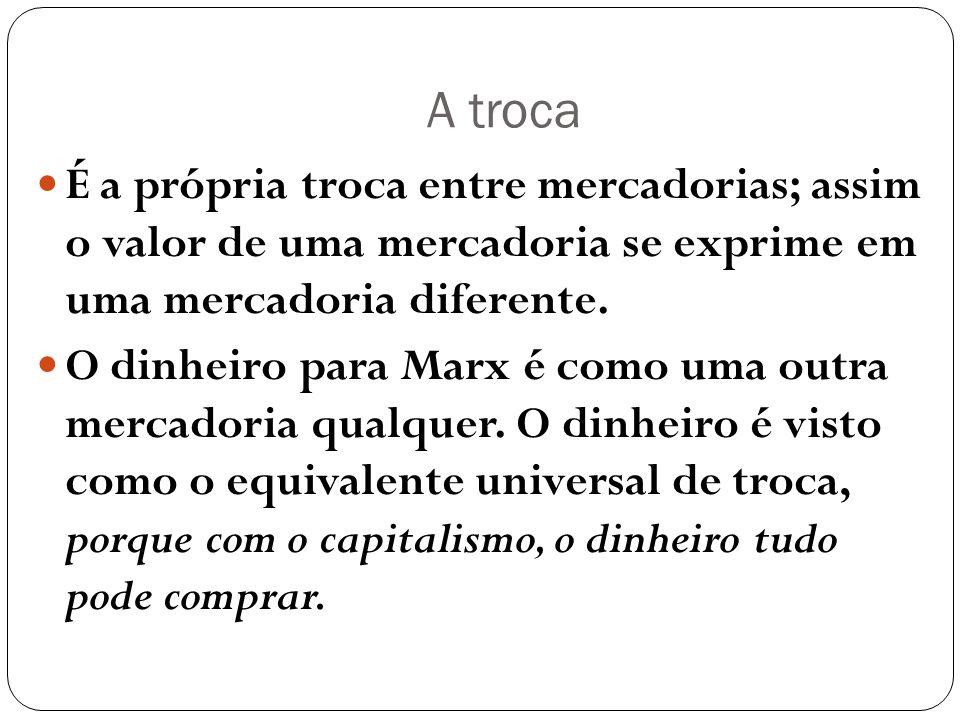 A troca É a própria troca entre mercadorias; assim o valor de uma mercadoria se exprime em uma mercadoria diferente. O dinheiro para Marx é como uma o