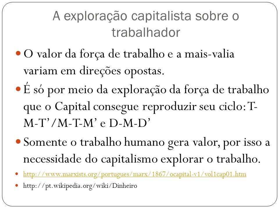 A exploração capitalista sobre o trabalhador O valor da força de trabalho e a mais-valia variam em direções opostas. É só por meio da exploração da fo
