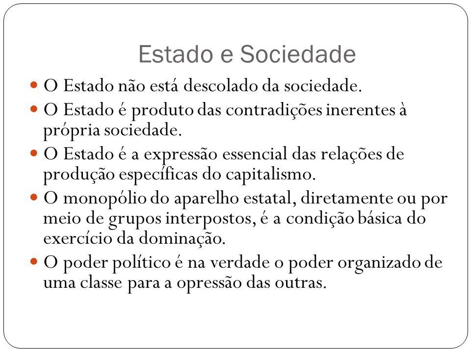 Estado e Sociedade O Estado não está descolado da sociedade. O Estado é produto das contradições inerentes à própria sociedade. O Estado é a expressão