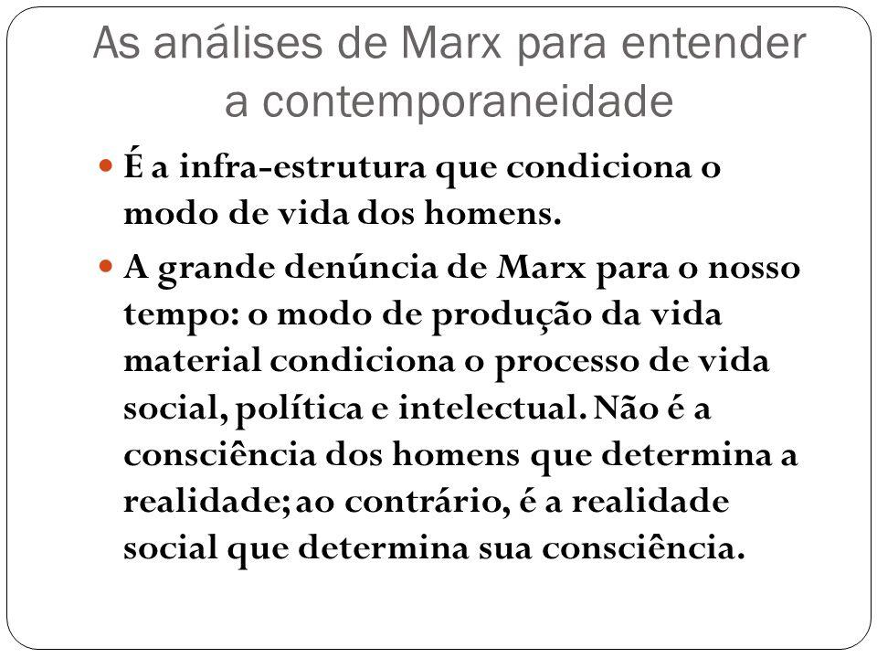 As análises de Marx para entender a contemporaneidade É a infra-estrutura que condiciona o modo de vida dos homens. A grande denúncia de Marx para o n