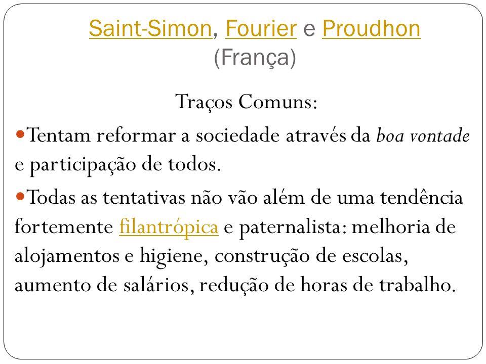 Saint-SimonSaint-Simon, Fourier e Proudhon (França)FourierProudhon Traços Comuns: Tentam reformar a sociedade através da boa vontade e participação de
