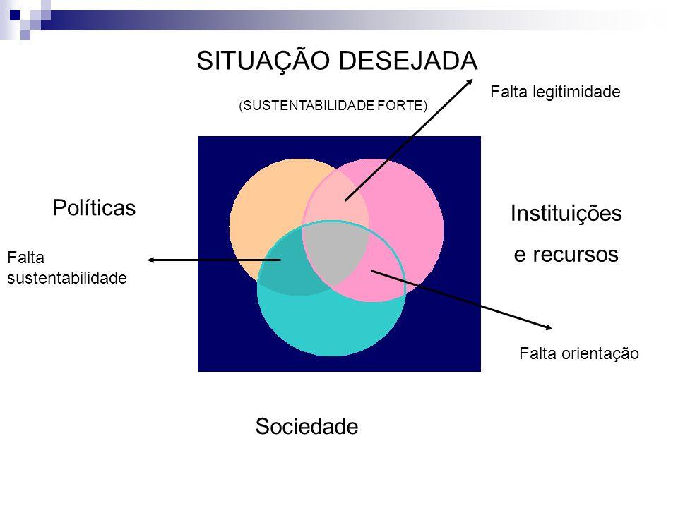 SITUAÇÃO DESEJADA Instituições e recursos Políticas Sociedade Falta orientação Falta sustentabilidade Falta legitimidade (SUSTENTABILIDADE FORTE)