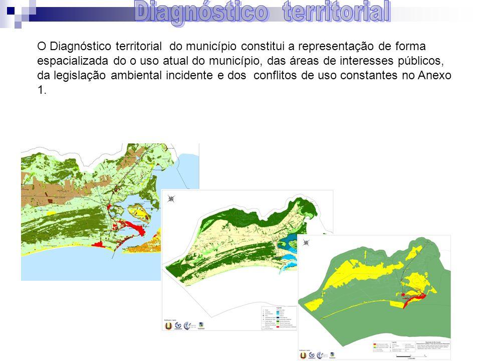O Diagnóstico territorial do município constitui a representação de forma espacializada do o uso atual do município, das áreas de interesses públicos,
