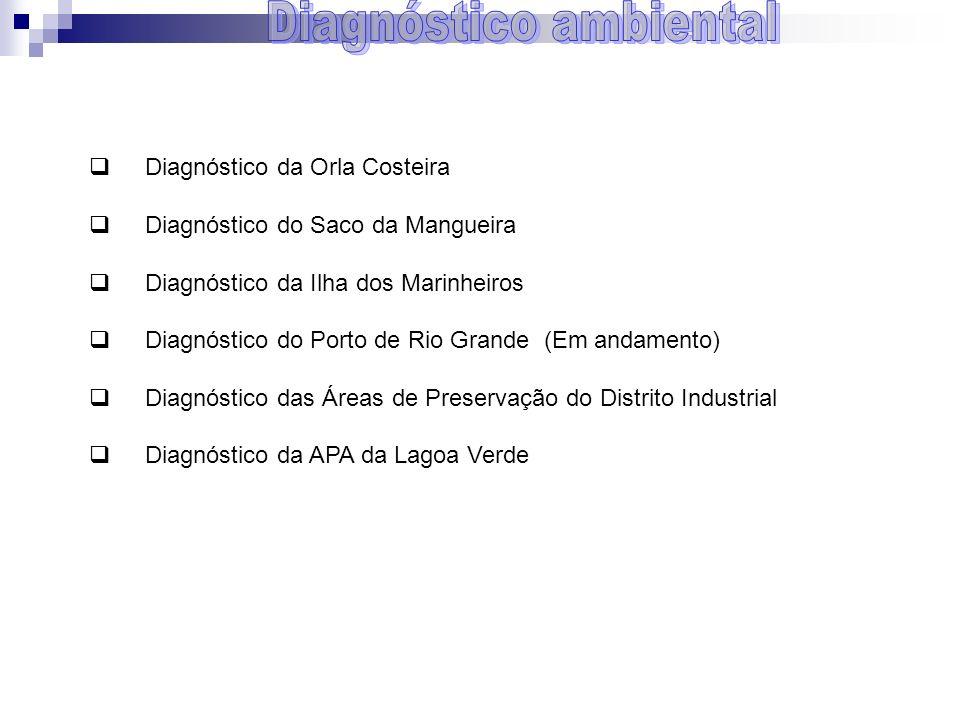 Diagnóstico da Orla Costeira Diagnóstico do Saco da Mangueira Diagnóstico da Ilha dos Marinheiros Diagnóstico do Porto de Rio Grande (Em andamento) Di