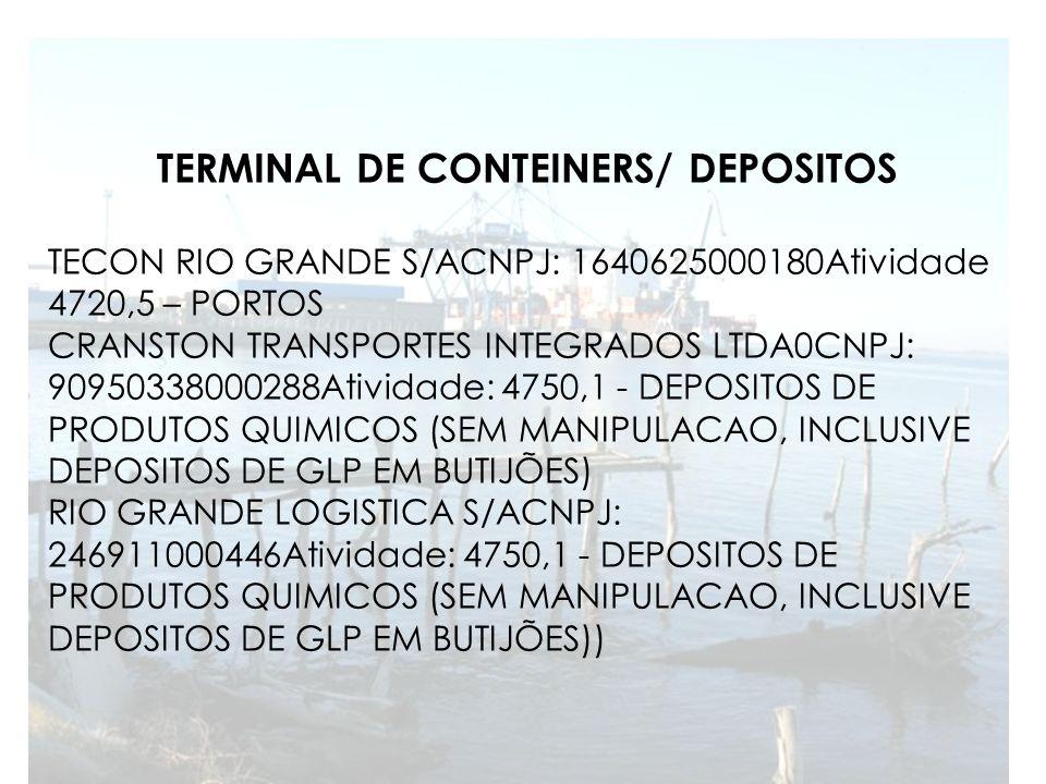 TERMINAL DE CONTEINERS/ DEPOSITOS TECON RIO GRANDE S/ACNPJ: 1640625000180Atividade 4720,5 – PORTOS CRANSTON TRANSPORTES INTEGRADOS LTDA0CNPJ: 90950338