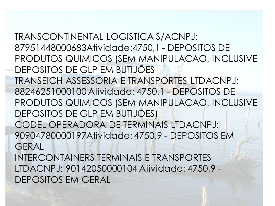 TRANSCONTINENTAL LOGISTICA S/ACNPJ: 87951448000683Atividade:4750,1 - DEPOSITOS DE PRODUTOS QUIMICOS (SEM MANIPULACAO, INCLUSIVE DEPOSITOS DE GLP EM BU