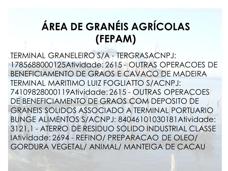 ÁREA DE GRANÉIS AGRÍCOLAS (FEPAM) TERMINAL GRANELEIRO S/A - TERGRASACNPJ: 1785688000125Atividade: 2615 - OUTRAS OPERACOES DE BENEFICIAMENTO DE GRAOS E