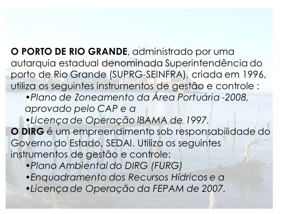 O PORTO DE RIO GRANDE, administrado por uma autarquia estadual denominada Superintendência do porto de Rio Grande (SUPRG-SEINFRA), criada em 1996, uti