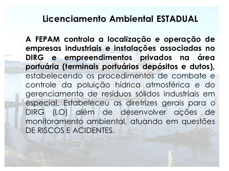 As principais empresas licenciadas pela FEPAM, que se localizam na área são Bianchini, Bunge, Yara Brasil (com terminais portuários e indústrias); Transpetro, Termasa, Tergrasa e Braskem (com terminais portuários e depósitos); Tecon (terminal portuário); Granel Química, Roulier do Brasil, Bunge Fertilizantes II, Alchem (indústrias); Amônia Sul (depósito); Estaleiros (WTORRE; Estação Naval (instalação militar); Terminais retroportuários (manutenção e depósito de contêineres); além de dois postos de abastecimento de embarcações e dois estaleiros de manutenção de embarcações.