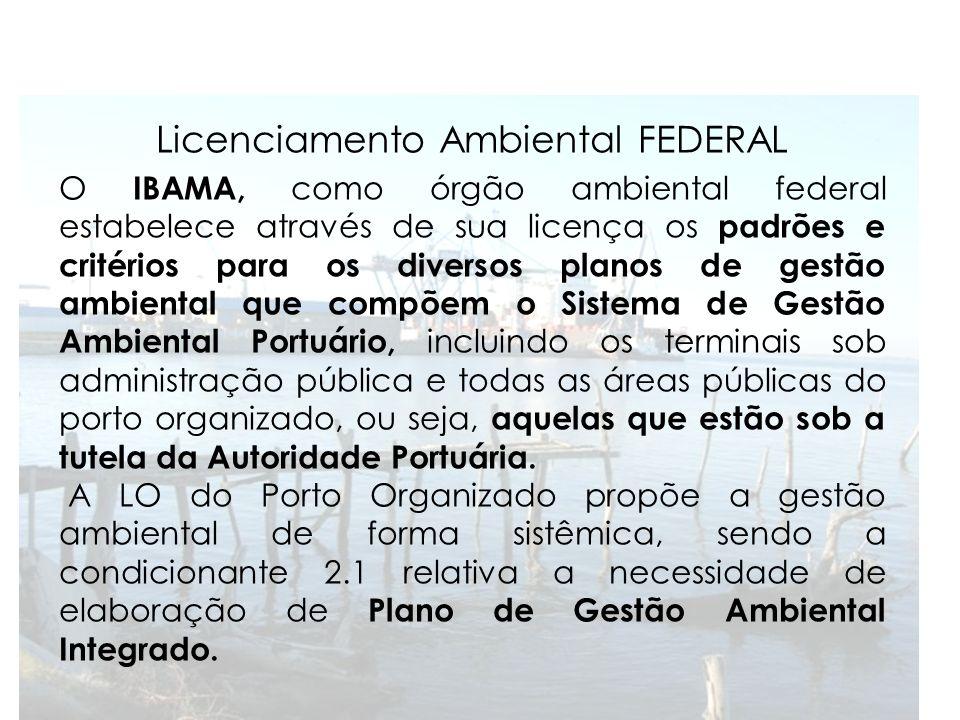 Licenciamento Ambiental FEDERAL O IBAMA, como órgão ambiental federal estabelece através de sua licença os padrões e critérios para os diversos planos