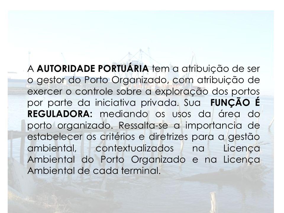 A AUTORIDADE PORTUÁRIA tem a atribuição de ser o gestor do Porto Organizado, com atribuição de exercer o controle sobre a exploração dos portos por pa