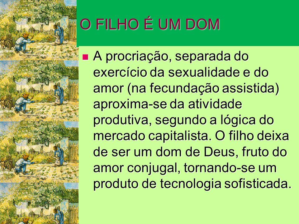 O FILHO É UM DOM A procriação, separada do exercício da sexualidade e do amor (na fecundação assistida) aproxima-se da atividade produtiva, segundo a lógica do mercado capitalista.