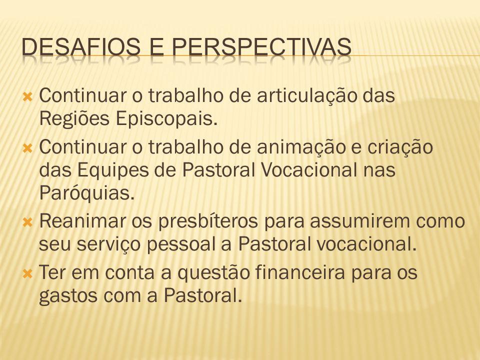 Continuar o trabalho de articulação das Regiões Episcopais. Continuar o trabalho de animação e criação das Equipes de Pastoral Vocacional nas Paróquia