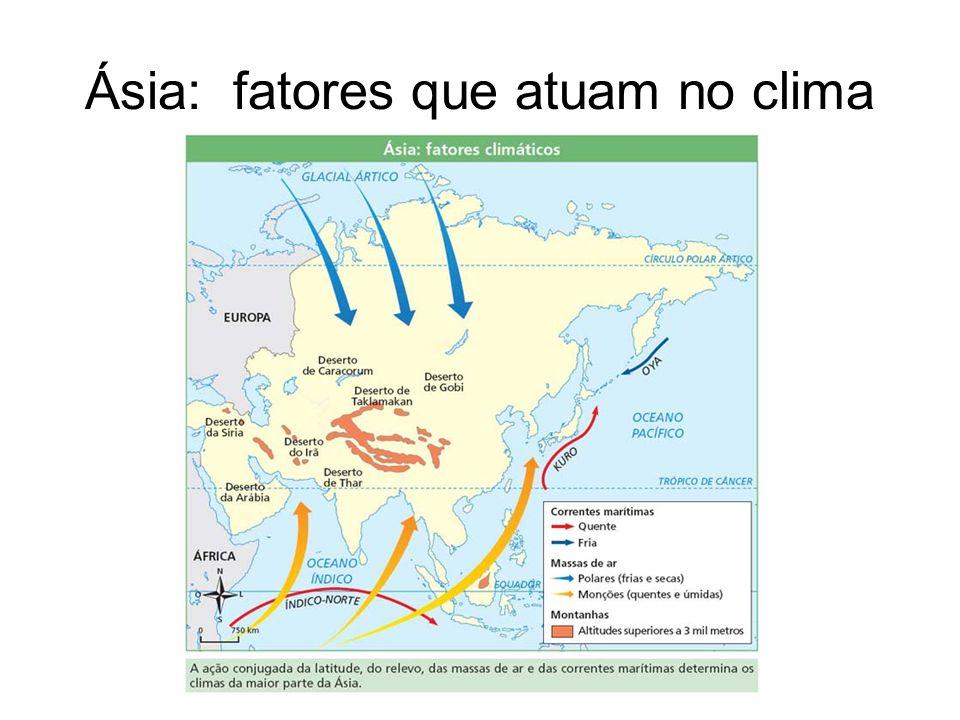 Ásia: fatores que atuam no clima