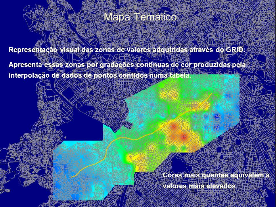 Desenvolvimento da Malha Temática (GRID) Malha de pontos (GRID) com valores unitários calculados a partir do banco de dados formado no processo descri