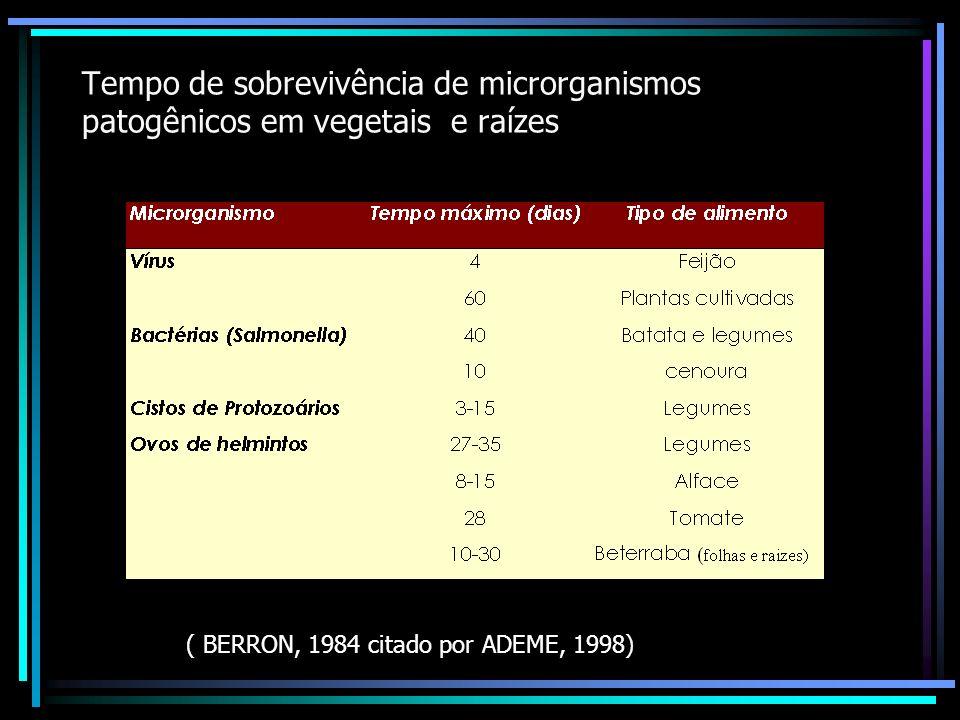 Tempo de sobrevivência dos microrgansimos patogênicos na água (FEIX & WIART, 1998, SCHWARTZBROD et al., 2000)