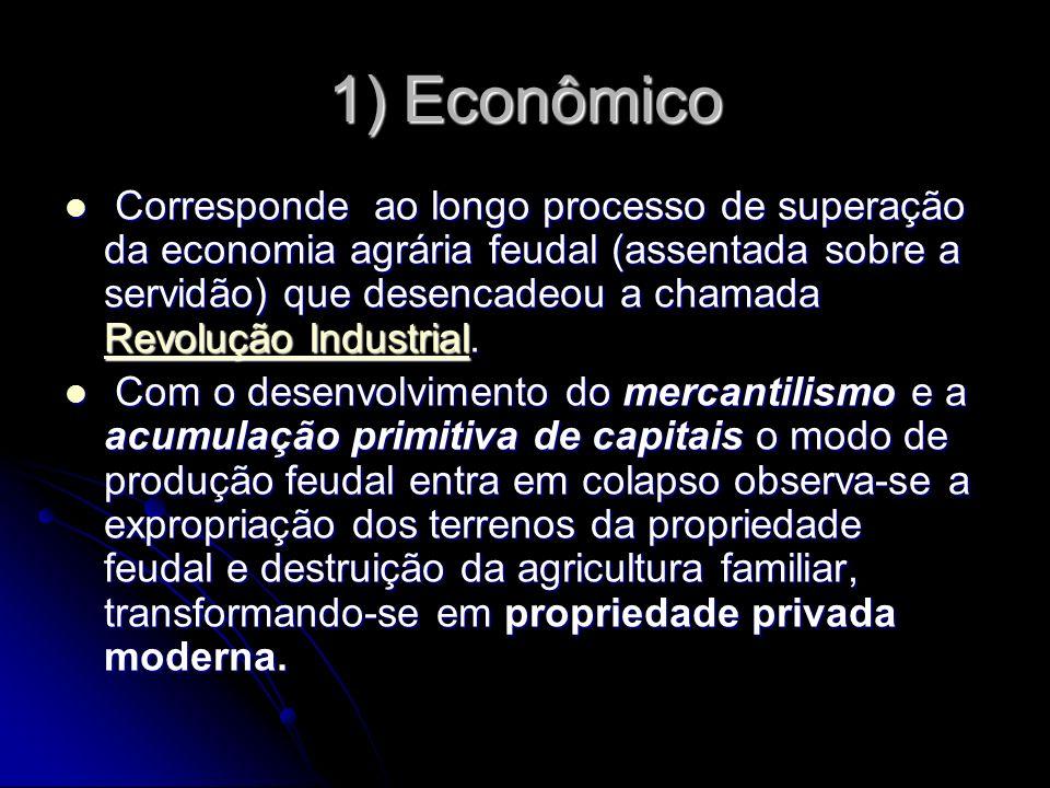 1) Econômico Corresponde ao longo processo de superação da economia agrária feudal (assentada sobre a servidão) que desencadeou a chamada Revolução In