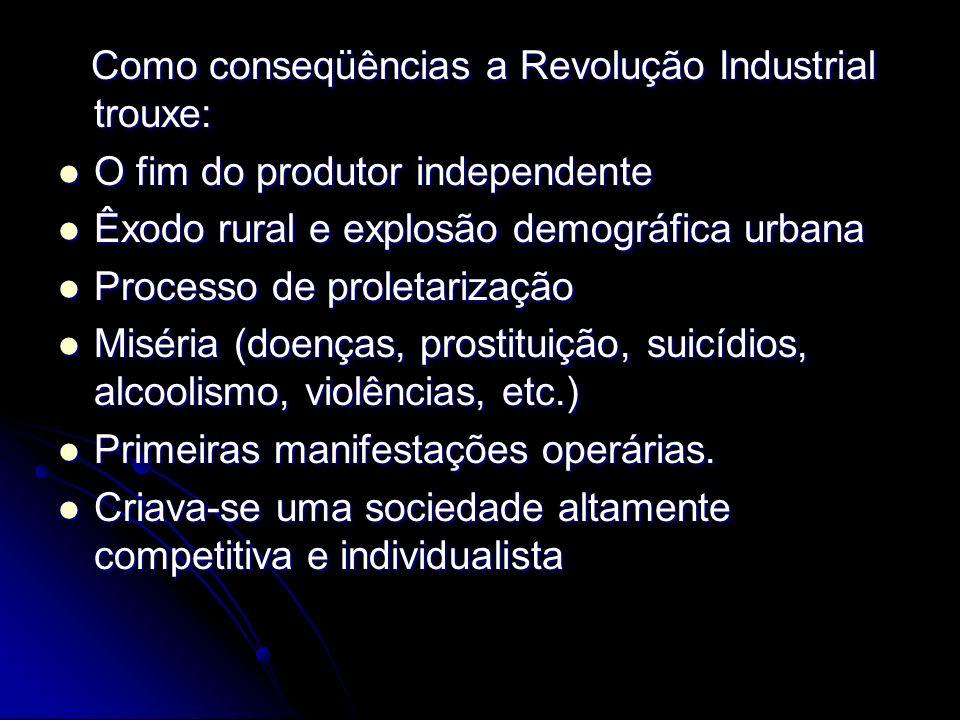Como conseqüências a Revolução Industrial trouxe: Como conseqüências a Revolução Industrial trouxe: O fim do produtor independente O fim do produtor i