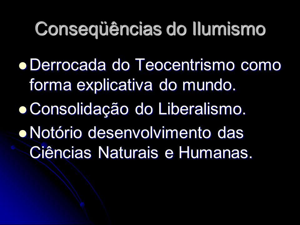Conseqüências do IIumismo Derrocada do Teocentrismo como forma explicativa do mundo. Derrocada do Teocentrismo como forma explicativa do mundo. Consol