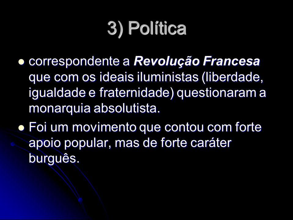 3) Política correspondente a Revolução Francesa que com os ideais iluministas (liberdade, igualdade e fraternidade) questionaram a monarquia absolutis