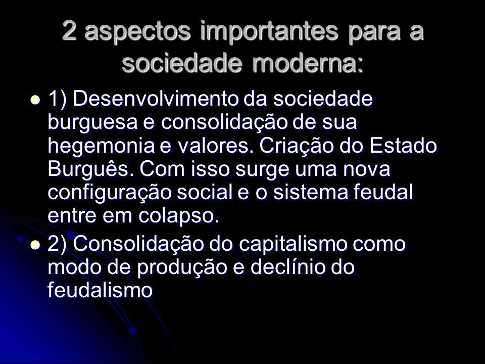 2 aspectos importantes para a sociedade moderna: 1) Desenvolvimento da sociedade burguesa e consolidação de sua hegemonia e valores. Criação do Estado