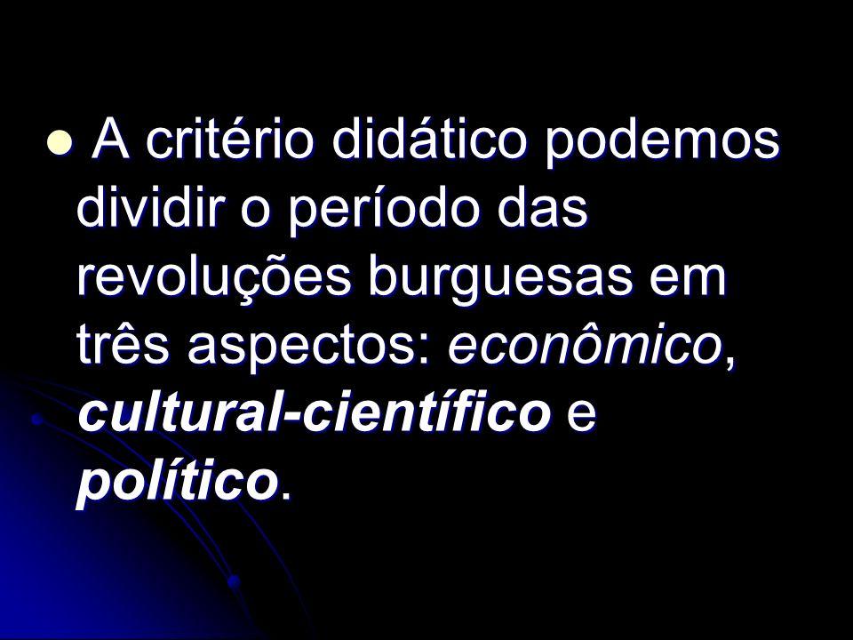 A critério didático podemos dividir o período das revoluções burguesas em três aspectos: econômico, cultural-científico e político. A critério didátic