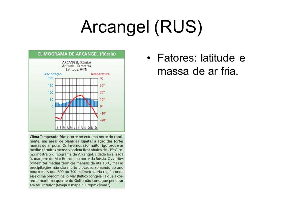 Arcangel (RUS) Fatores: latitude e massa de ar fria.