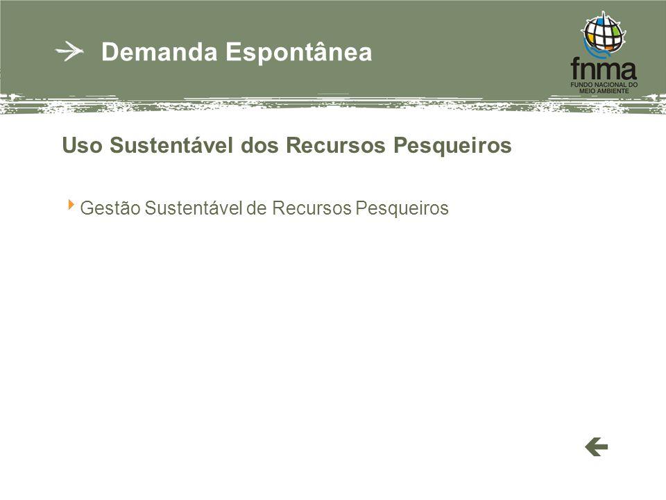 Uso Sustentável dos Recursos Pesqueiros Gestão Sustentável de Recursos Pesqueiros Demanda Espontânea
