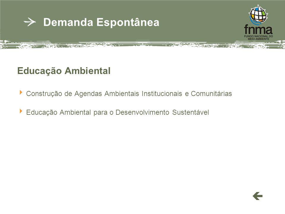 Educação Ambiental Construção de Agendas Ambientais Institucionais e Comunitárias Educação Ambiental para o Desenvolvimento Sustentável Demanda Espontânea