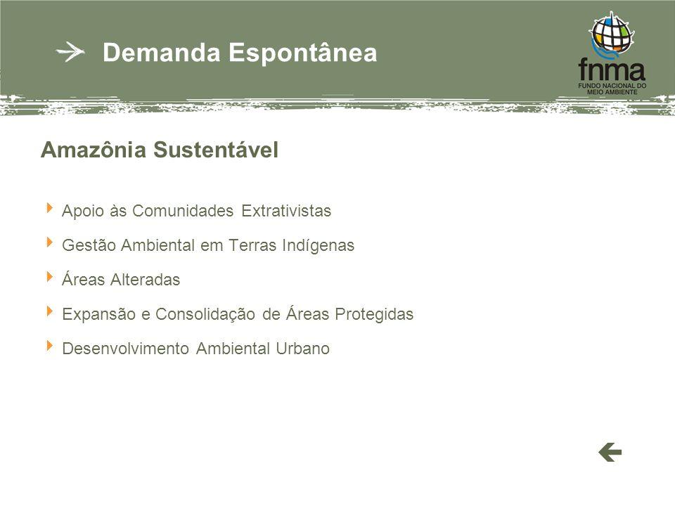 Amazônia Sustentável Apoio às Comunidades Extrativistas Gestão Ambiental em Terras Indígenas Áreas Alteradas Expansão e Consolidação de Áreas Protegidas Desenvolvimento Ambiental Urbano Demanda Espontânea