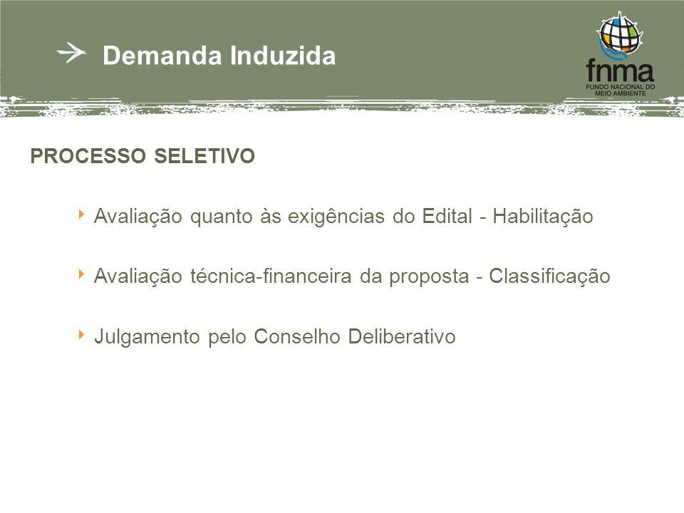 PROCESSO SELETIVO Avaliação quanto às exigências do Edital - Habilitação Avaliação técnica-financeira da proposta - Classificação Julgamento pelo Conselho Deliberativo Demanda Induzida