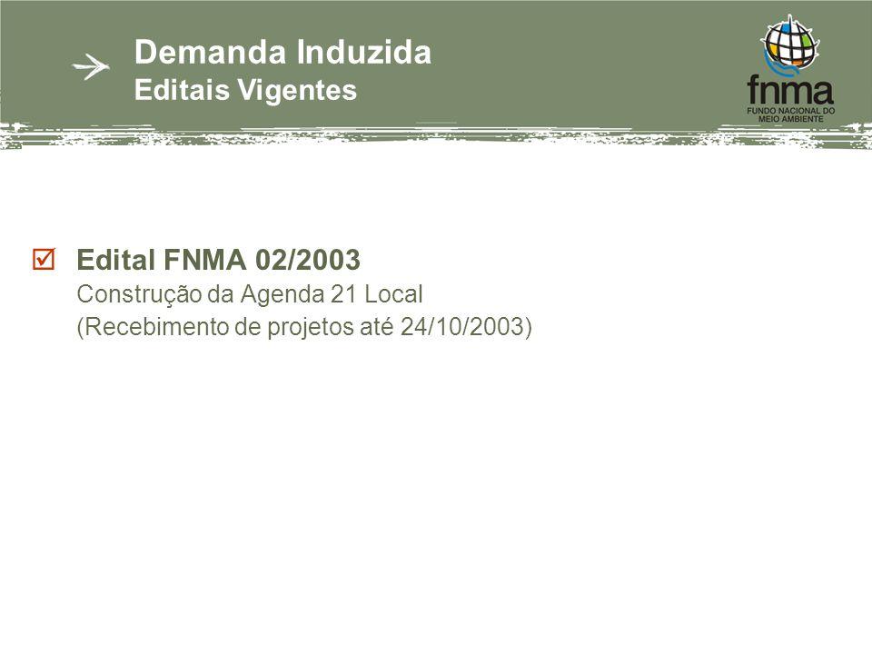 Edital FNMA 02/2003 Construção da Agenda 21 Local (Recebimento de projetos até 24/10/2003) Demanda Induzida Editais Vigentes