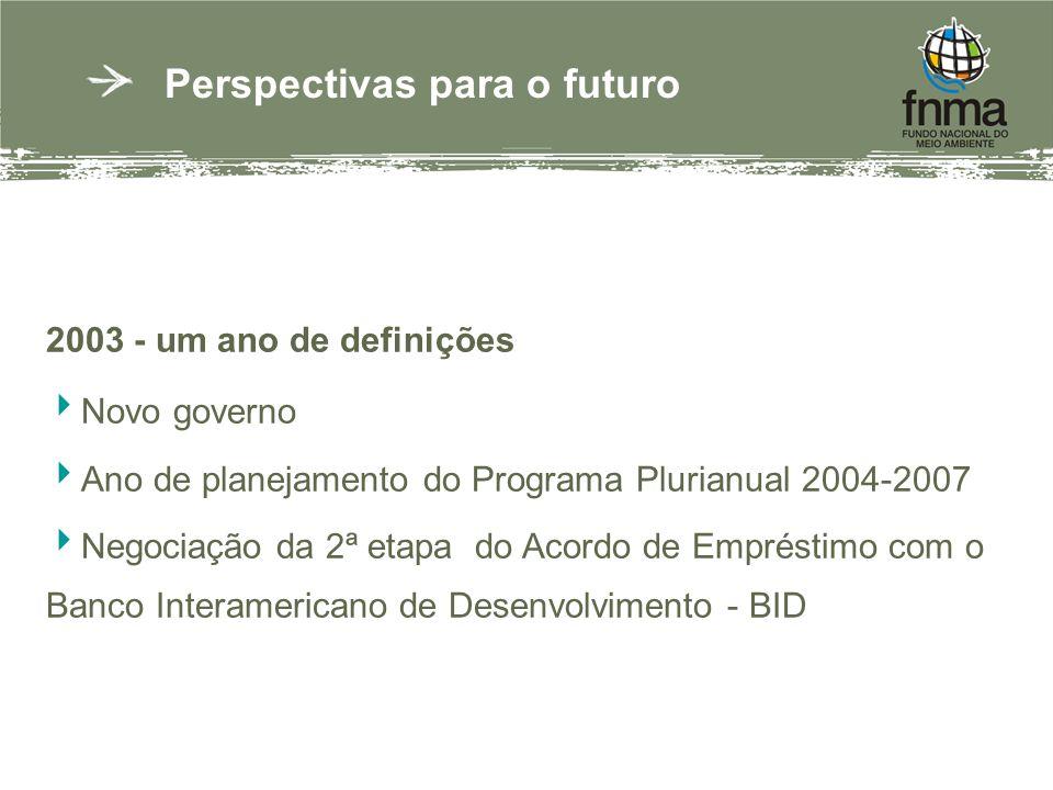 Perspectivas para o futuro 2003 - um ano de definições Novo governo Ano de planejamento do Programa Plurianual 2004-2007 Negociação da 2ª etapa do Acordo de Empréstimo com o Banco Interamericano de Desenvolvimento - BID