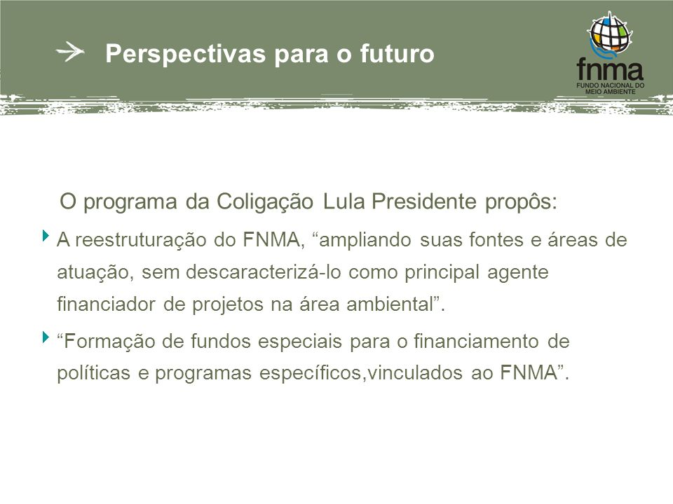 Perspectivas para o futuro O programa da Coligação Lula Presidente propôs: A reestruturação do FNMA, ampliando suas fontes e áreas de atuação, sem descaracterizá-lo como principal agente financiador de projetos na área ambiental.