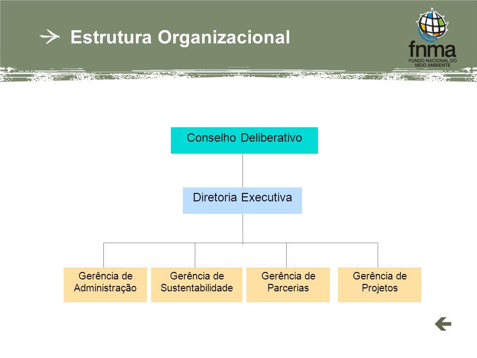 Estrutura Organizacional Conselho Deliberativo Gerência de Administração Gerência de Sustentabilidade Gerência de Parcerias Gerência de Projetos Diretoria Executiva